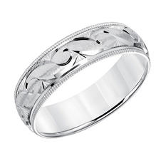 6mm Comfort Fit Satin Finish Wedding Band with Milgrain Edge in 14K White Gold