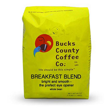 Bucks County Breakfast Blend Whole Bean Coffee - 2.5 lb