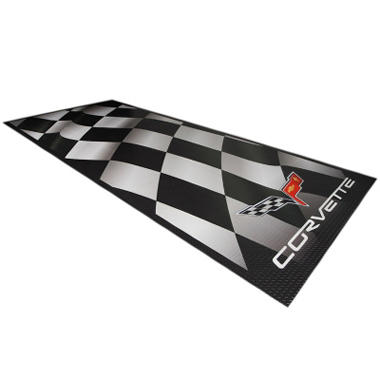 G-FLOOR Waving Flag Corvette Parking Pad - Commercial Grade Ceramic Finish - Available in 2 Sizes