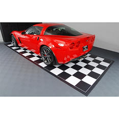 G-FLOOR Parking Pads - Commercial Grade Ceramic Finish - Black & White Checkered with Black Border - 10' x 20'