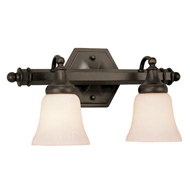 2-Light Rubbed Oil Bronze Vanity Sconce