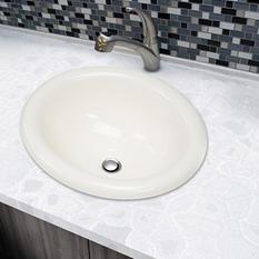 Stahl Ceramic Medium Drop-in Oval Bowl - Bisque