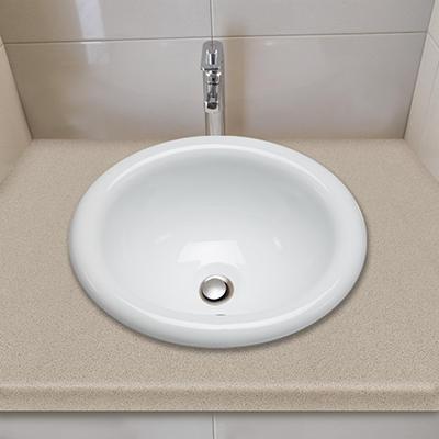 Stahl Ceramic Medium Drop-in Oval Bowl - White