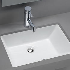 Stahl Ceramic Medium Undermount Rectangular Bowl Bath Sink - White