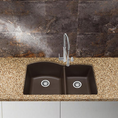 Blanco Silgranit Double-Bowl Kitchen Sink - Café Brown
