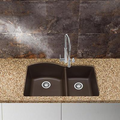 Blanco Silgranit Double-Bowl Kitchen Sink - Café Brown