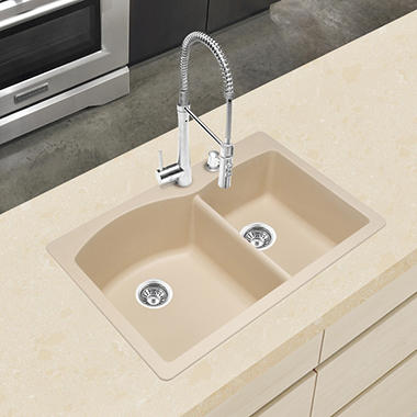 Blanco Silgranit Double-Bowl Kitchen Sink - Biscotti