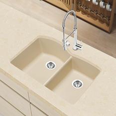 Blanco Silgranit Double-Bowl Kitchen Sink - Biscotti