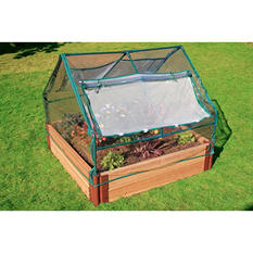 "Frame It All's Raised Garden 1"" 4' x 4', 2 Level c/w PVC Greenhouse"