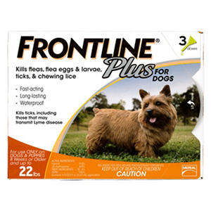 Frontline Plus Flea Tick and Lice Control for Dogs and Puppies up to 22 lbs.