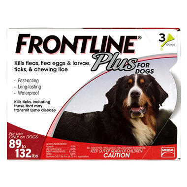 Frontline Plus Flea Tick and Lice Control for Dogs 89-132 lbs.