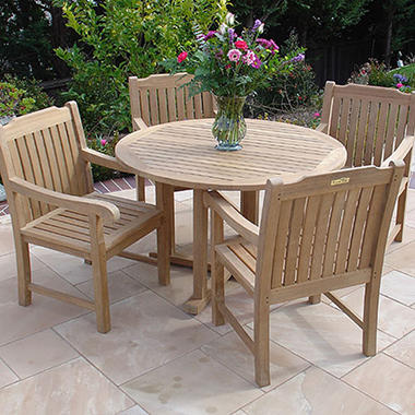 Teak Round Table Set - 5 pc.