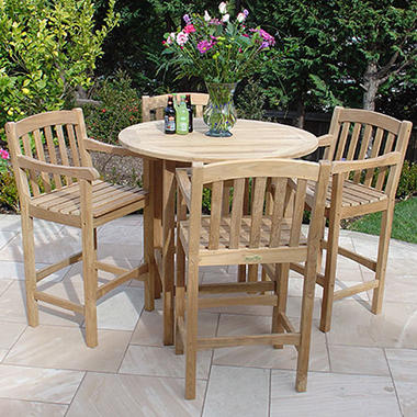 Teak Round High Bar Table with Arm Chairs - 5 pc.