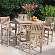 Teak High Bar Square Table Dining Set - 5 pc.