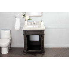 "Kinsgley 28"" Single Sink Marble Top Vanity with Backsplash"