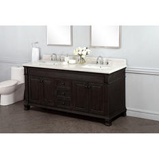 "Kinsgley 72"" Double Sink Marble Top Vanity with Backsplash"