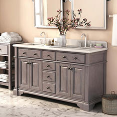 """Lanza 60"""" Marble Top Bath Vanity"""