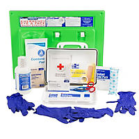 Physician's Care Eyewash and First Aid Kit Station For Up To 25 Employees