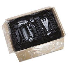 Solo Guildware Heavyweight Plastic Forks, Black -  1000/Carton
