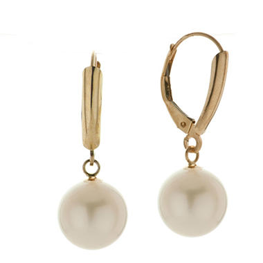 Freshwater Cultured Pearl Leverback Earrings in 14K Yellow Gold