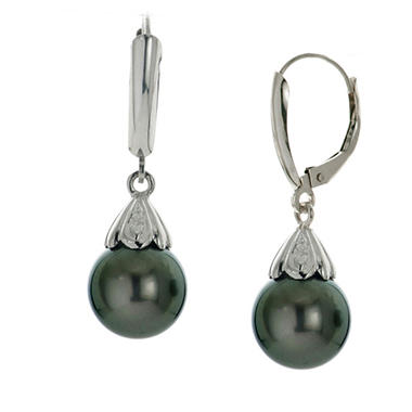 9-10mm Tahitian Pearl Earrings in 14K White Gold