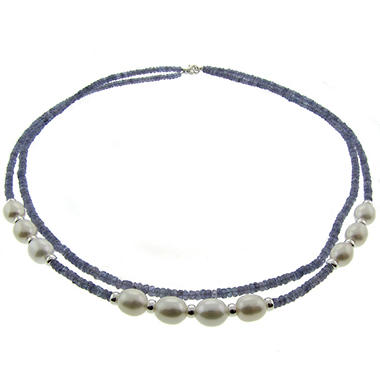 Cultured Freshwater Pearl & Tanzanite 2-Row Necklace in Sterling Silver