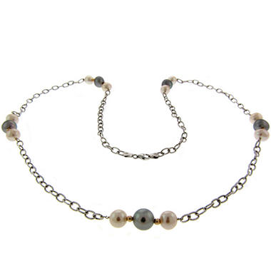 Gray Freshwater Pearl Necklace with 14k Beads & Sterling Silver Chain