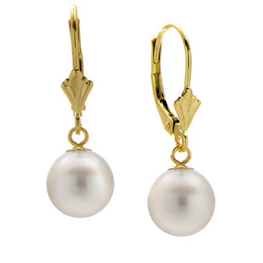8-9mm Freshwater Cultured Pearl Round Leverback Earrings