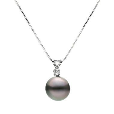 9-10mm Black Tahitian Pearl and Diamond Pendant in 14k White Gold