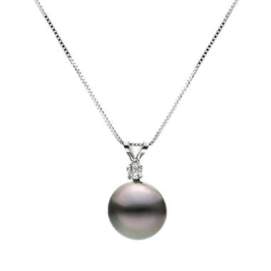 9-10mm Black Tahitian Pearl and Diamond Pendant in 14k White Gold