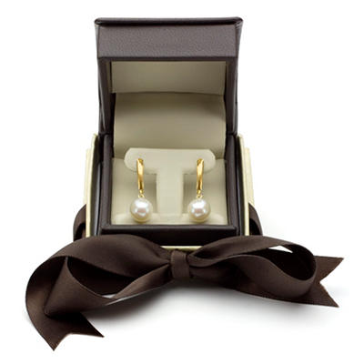 9-10mm White Cultured Freshwater Pearl Earrings in 14K Yellow Gold