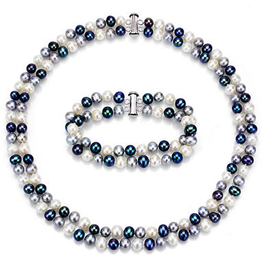 2 Row 6.5-7mm Freshwater Pearl Necklace and Bracelet Set in Sterling Silver