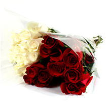 Wedding Pack - Red & White Roses - 100 Stems