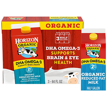 Horizon Organic Reduced Fat Milk w/DHA  (64oz., 3 ct.)