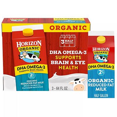 Horizon Organic Reduced Fat Milk w/DHA - 64oz - 3 ct.