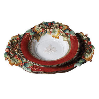 Fitz & Floyd Holiday Solstice Platter & Bowl