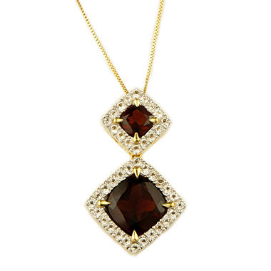 9mm Garnet Cushion Cut Pendant