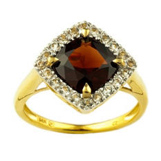 8mm Cushion Cut Garnet Ring