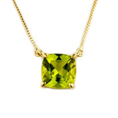 1.62 ct. Cushion Cut Peridot Pendant in 14k Yellow Gold