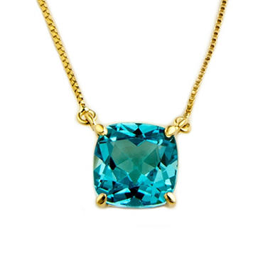 1.80 ct. Cushion-Cut Blue Topaz Pendant in 14k Yellow Gold
