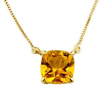 1.53 ct. Cushion-Cut Citrine Pendant in 14k Yellow Gold
