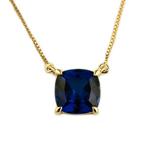 1.74 ct. Cushion-Cut Lab-Created Sapphire Pendant in 14k Yellow Gold