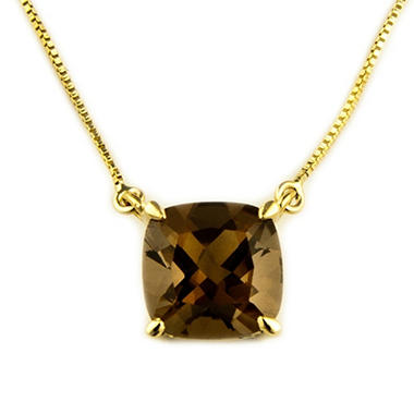 1.53 ct. Cushion-Cut Smokey Quartz Pendant in 14k Yellow Gold
