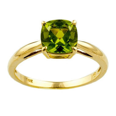 1.62 ct. Cushion-Cut Peridot Ring in 14k Yellow Gold