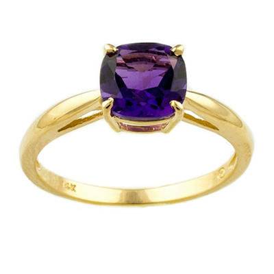 1.53 ct. Cushion-Cut Amethyst Ring in 14k Yellow Gold