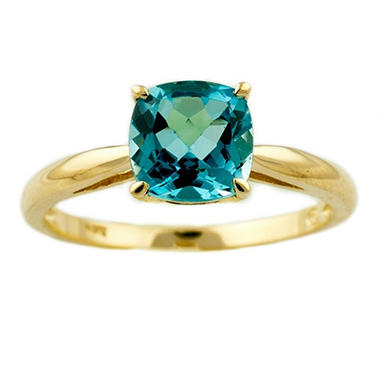 1.80 ct. Cushion-Cut Blue Topaz Ring in 14k Yellow Gold