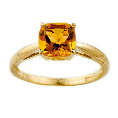 1.53 ct. Cushion-Cut Citrine Ring in 14k Yellow Gold