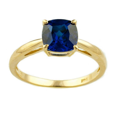 1.74 ct. Cushion-Cut Lab-Created Sapphire Ring in 14k Yellow Gold
