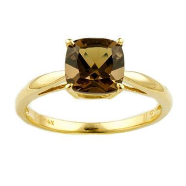 1.53 ct. Cushion-Cut Smokey Quartz Ring in 14k Yellow Gold