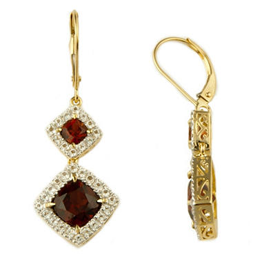 7mm Garnet Cushion Cut Earring